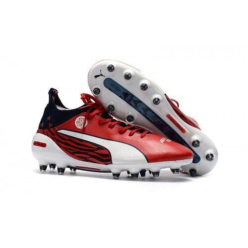 detailed look edad6 e24e7 Pas Cher Puma evoTOUCH PRO FG Chaussures de football Blanc Rouge Noir
