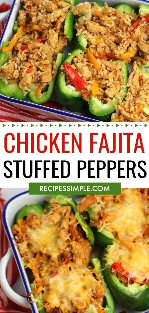 Chicken Fajita Stuffed Peppers #bellpeppers