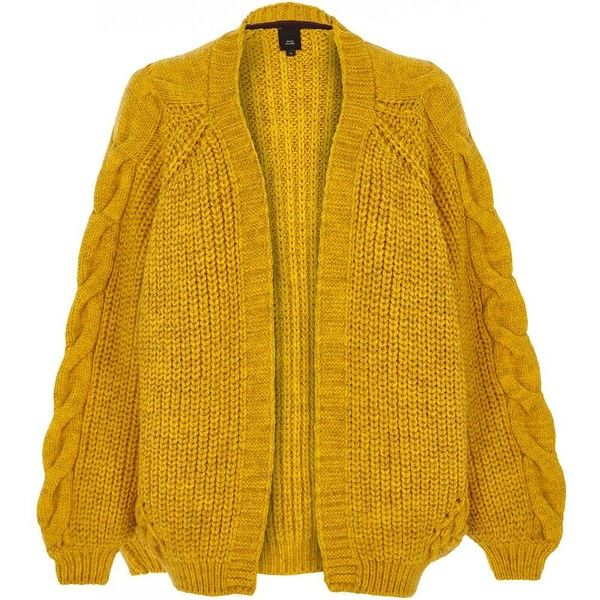 River Island Mustard yellow chunky cable knit cardigan ($84) ❤ liked on  Polyvore featuring
