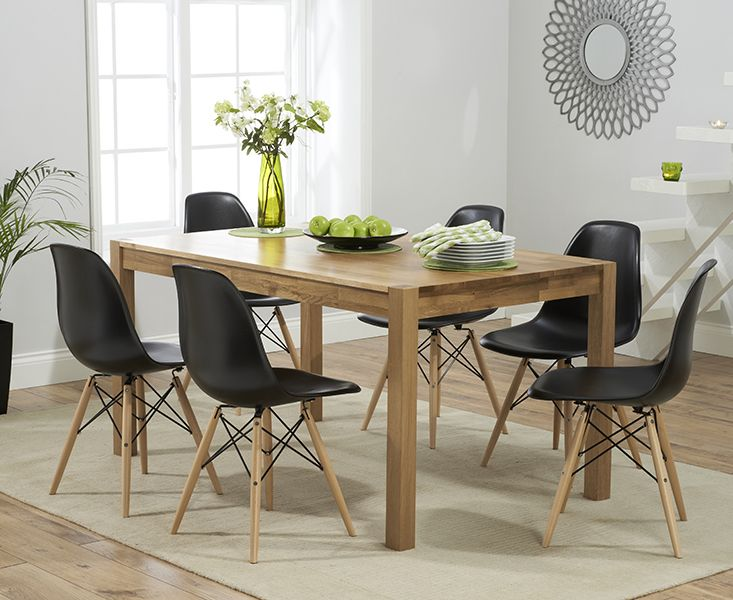 Buy The Oxford 150cm Solid Oak Dining Table With Charles Eames Style DSW Eiffel Chairs At