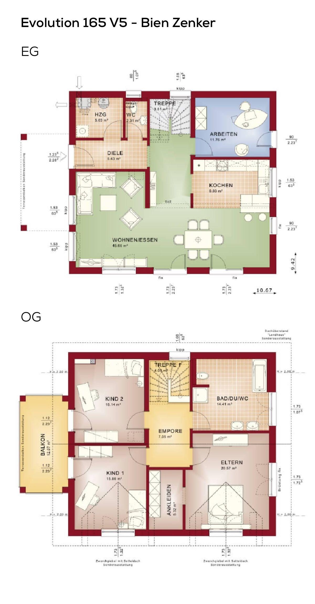 Grundriss Einfamilienhaus quadratisch mit Satteldach