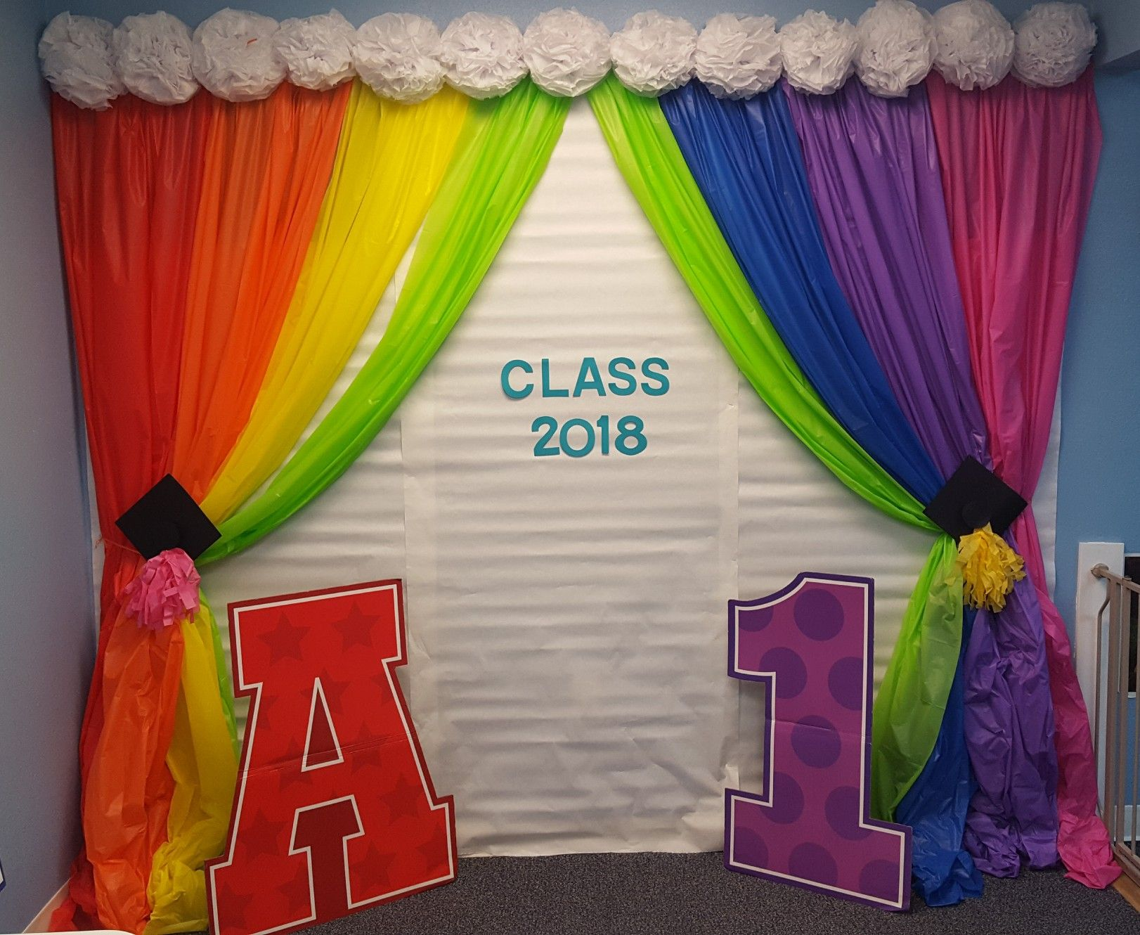 Rainbow Preschool Graduation Photo Back Drop Very