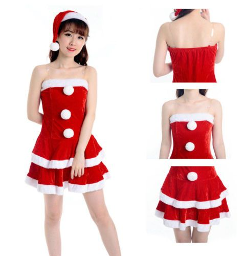 6e6a78705a77 Women-Sexy-Miss-Santa-Christmas-Costume-Fancy-Dress-Hat-Xmas-Office-Party- Outfit