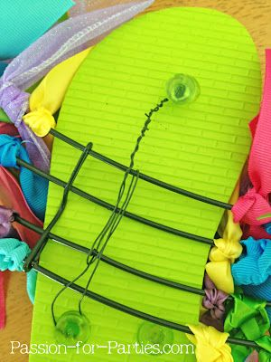 f5f1f61390416 DIY Flip Flop Wreath..... Many flip flop wreaths out there but none explain  how to do. This is one way of holding it together ...these won t come apart.