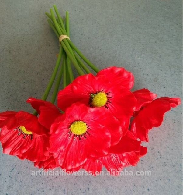 Wholesale Artificial Flowers Pu Red Poppy Flowers For Wedding