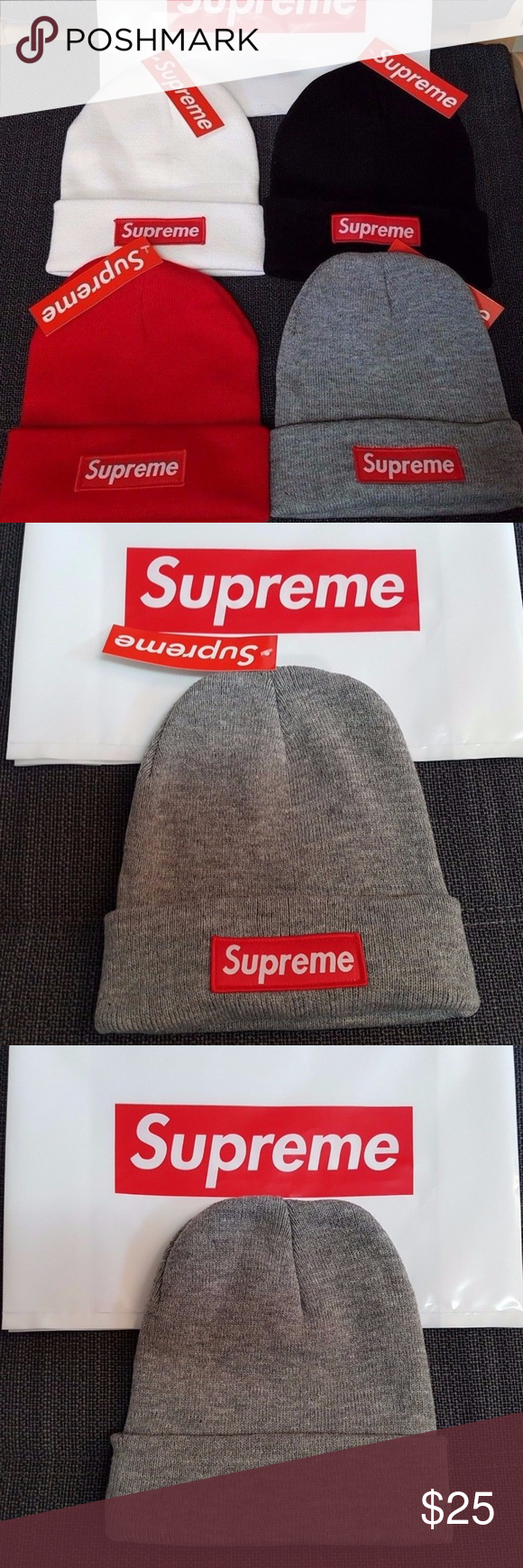 7d5ae96347ae7 Supreme Beanie Red Black Gray White Classic Logo Supreme Beanie Brand New  with Tags Some of