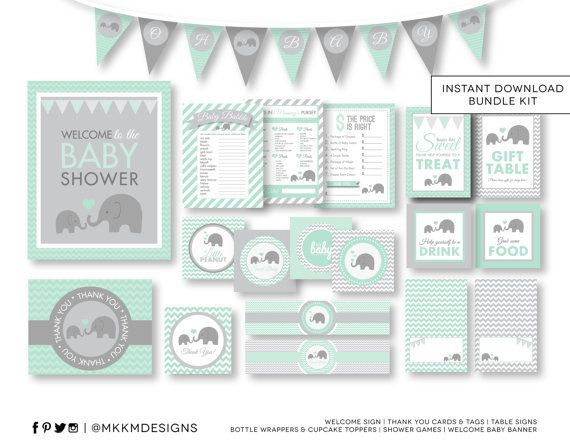 Elephant Baby Shower, INSTANT DOWNLOAD, Elephant Party Kit, Banner, Baby Shower…