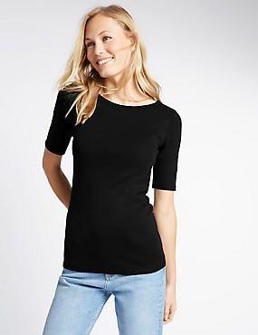 dd6e77ccbc3480 Pure Cotton Slash Neck Half Sleeve T-Shirt | Basics | Shirts, Casual ...