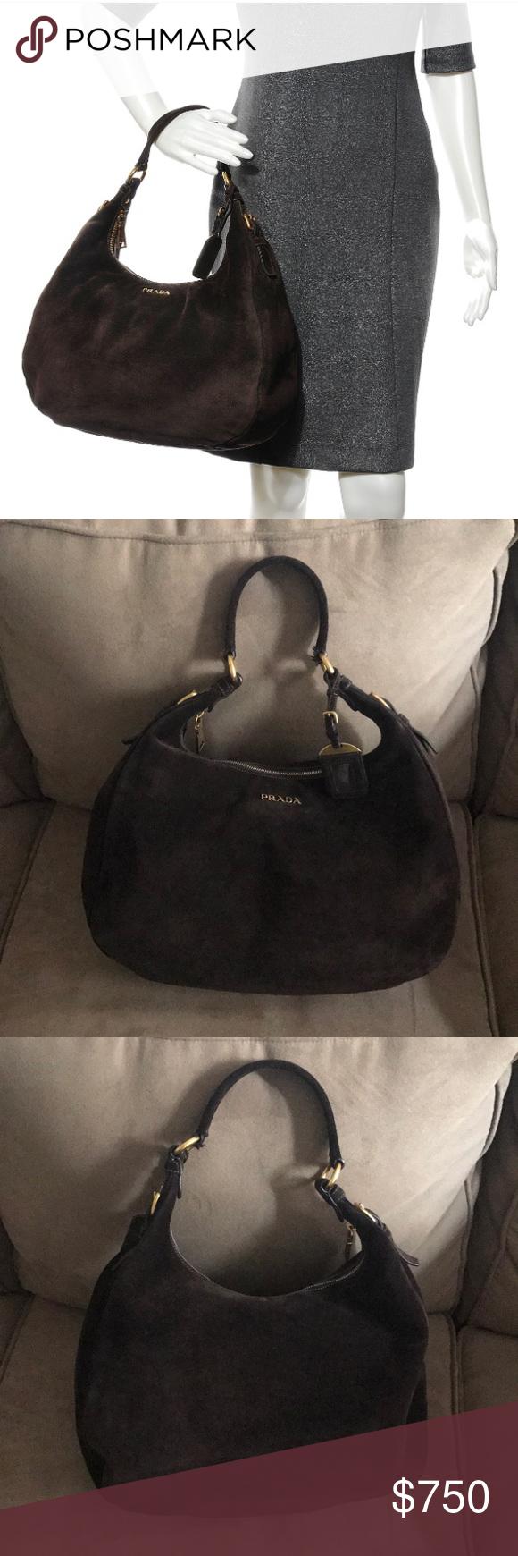 Prada Brown Suede Hobo Bag Authentic brown suede Prada hobo handbag. This  is a beautiful d4514a05a6