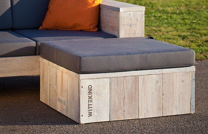 Holz Fußhocker mit Polster - passend für die WITTEKIND Loungemöbel