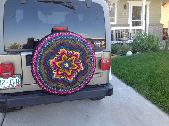 Boho Tire Covercustomcrochet Jeep Crv Fjcruiser Rav4 Cover Etsy