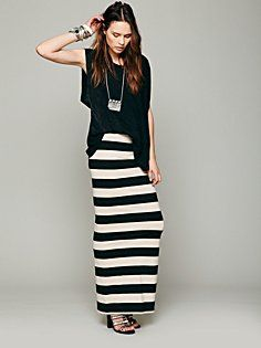 Rugby Stripe Column Skirt in clothes-FP-Beach, $78