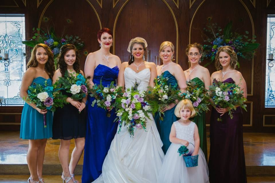 Peacock Themed Wedding Party Cascade Bridal Bouquet And Open Space Bridesmaid Bouquets Flowers