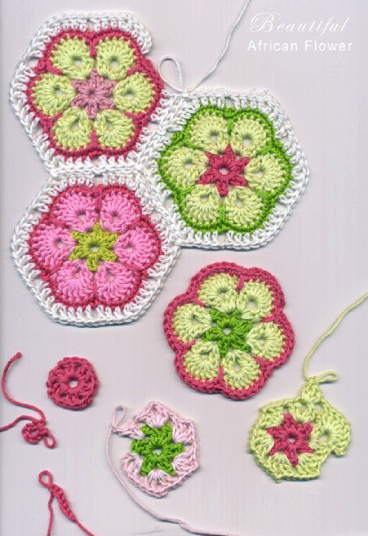 Free Pattern] Beautiful African Flower Crochet   Ganchillo, Bufandas ...