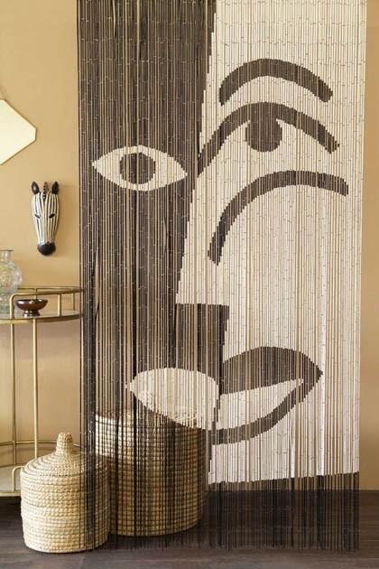 Bamboo Door Curtain Black White Design In 2020 Door Curtains
