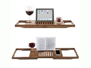 Bathroom Hardware Bamboo Bathroom Tray Telescoping Bathtub Desk For Phone Laptop Notebook Wine Glasses Candles Bathroom Holder Bathroom Shelves