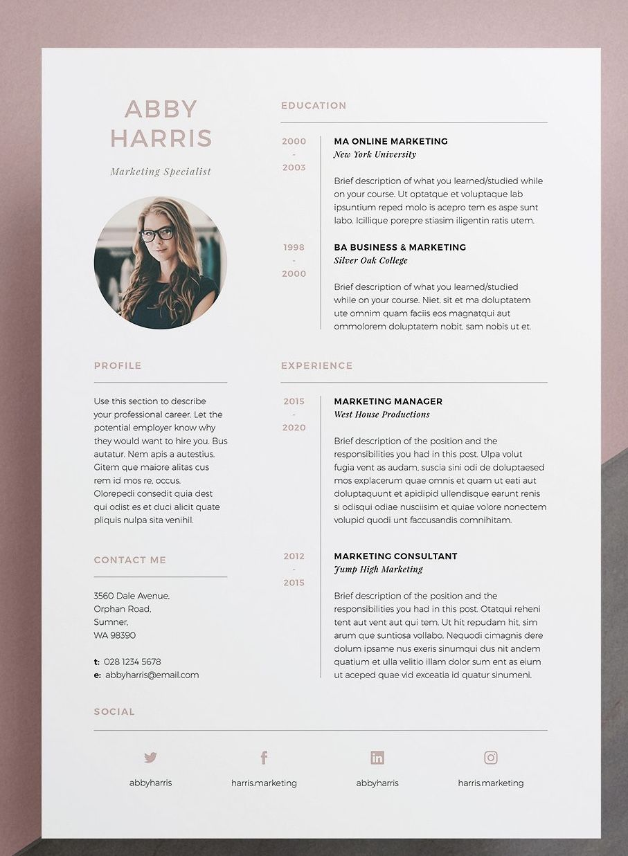 Resume Cv Abby Resume Design Resume Design Template Creative Cv