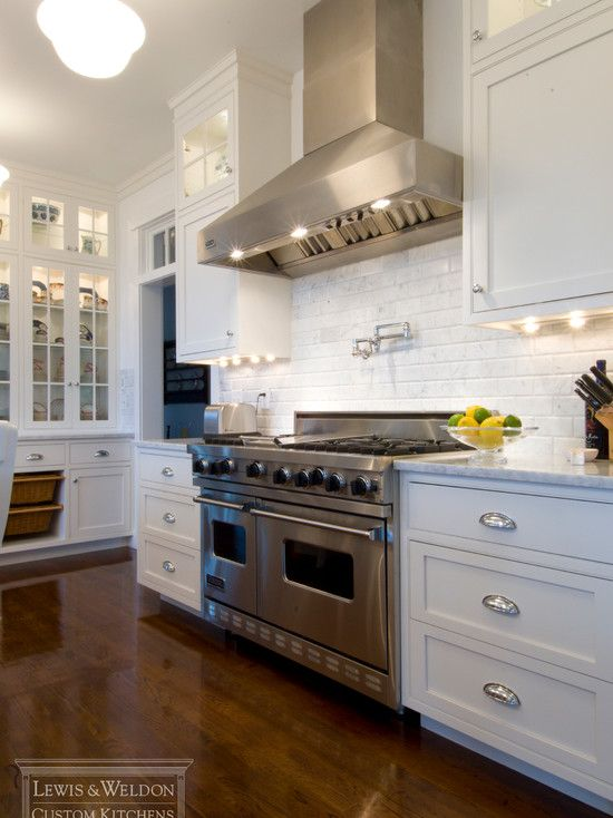 White Cabinets With Glass Fronts Shiny Chrome Bin Pulls