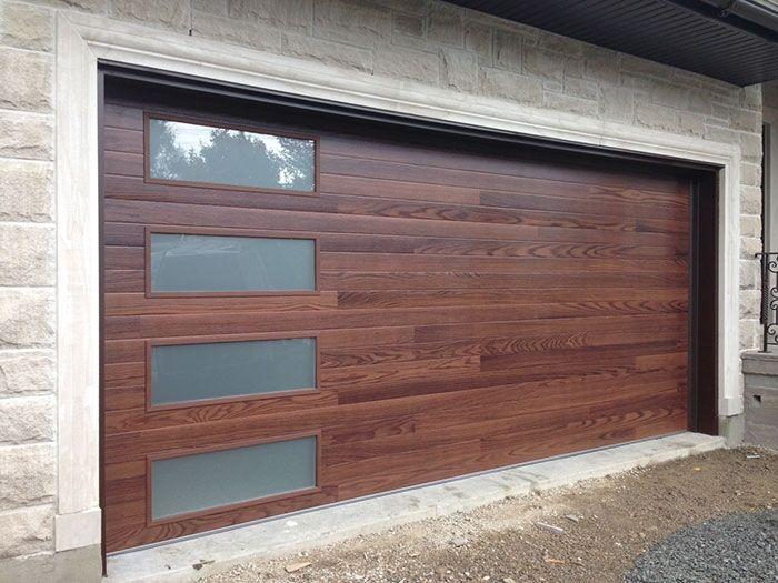 Fiberglass Garage Doors Fiberglass Woodgrain Modern Garage Door With Frosted Door Lites Manufactured Garage Door Design Garage Door Styles Modern Garage Doors