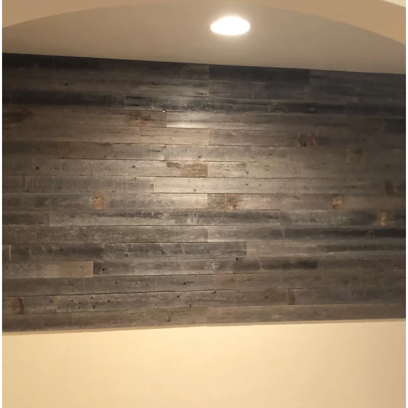 3 5 X 48 Reclaimed Peel And Stick Solid Wood Wall Paneling In Gray Wood Panel Walls Wall Paneling Wood Wall