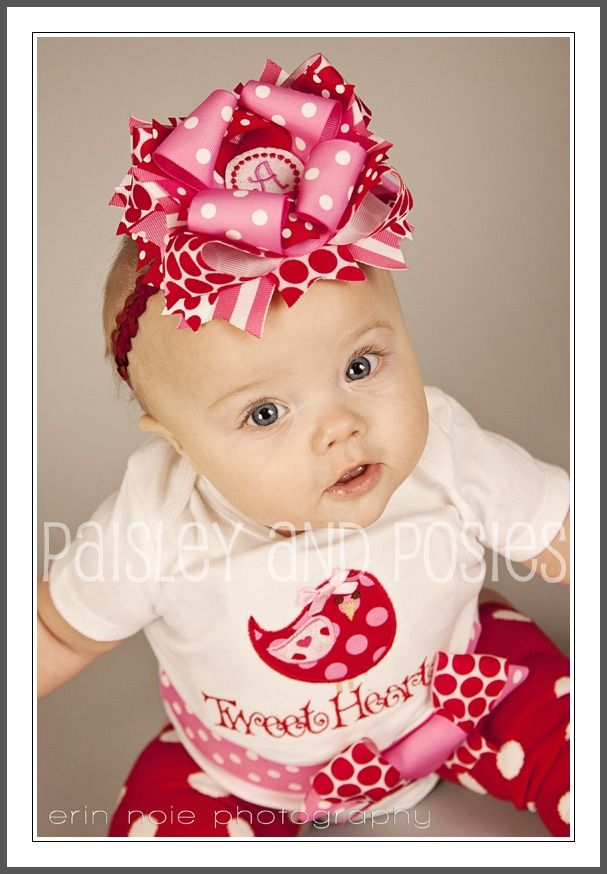 Tweet Heart Over the Top Monogrammed Bow-headband, Valentine's Day Hairbow
