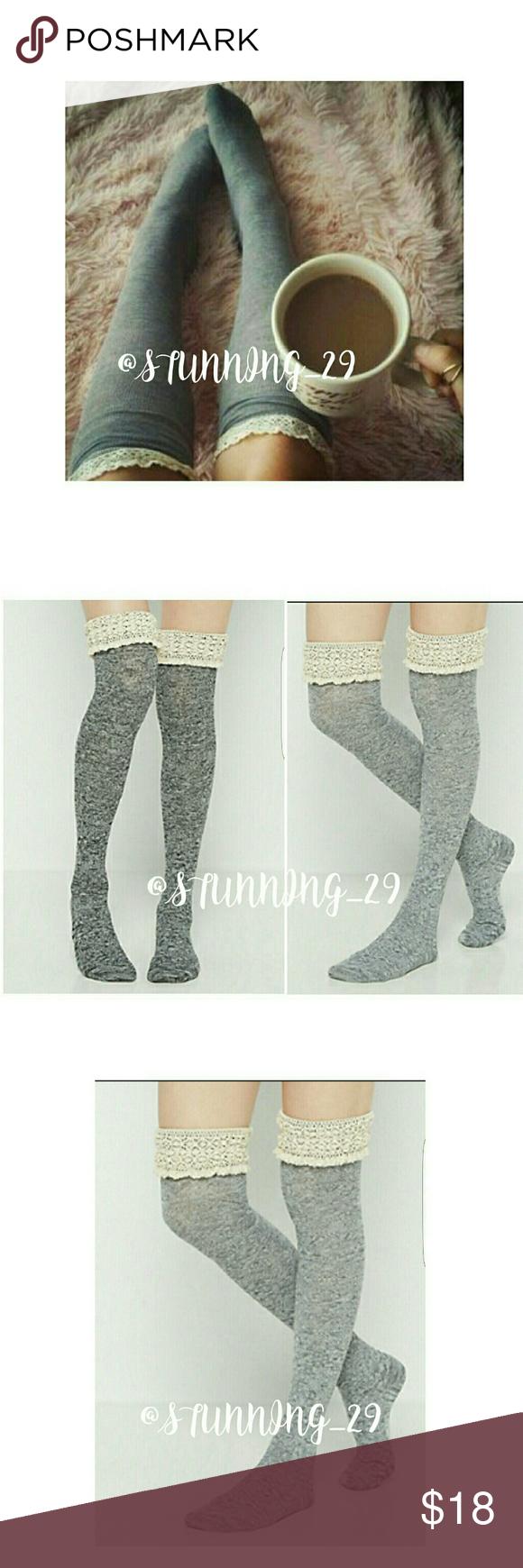 Grey Lace Top Marbled Otk Socks Grey Lace Top Otk Socks Otk