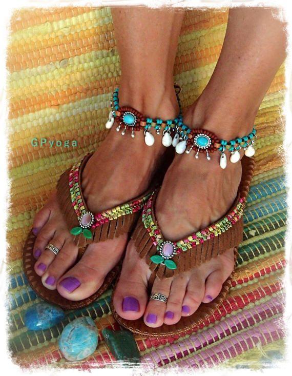 be7a3d5d5ee9 WOODLAND Brown flip flops US size 7-8 Leather Fringe sandals ...