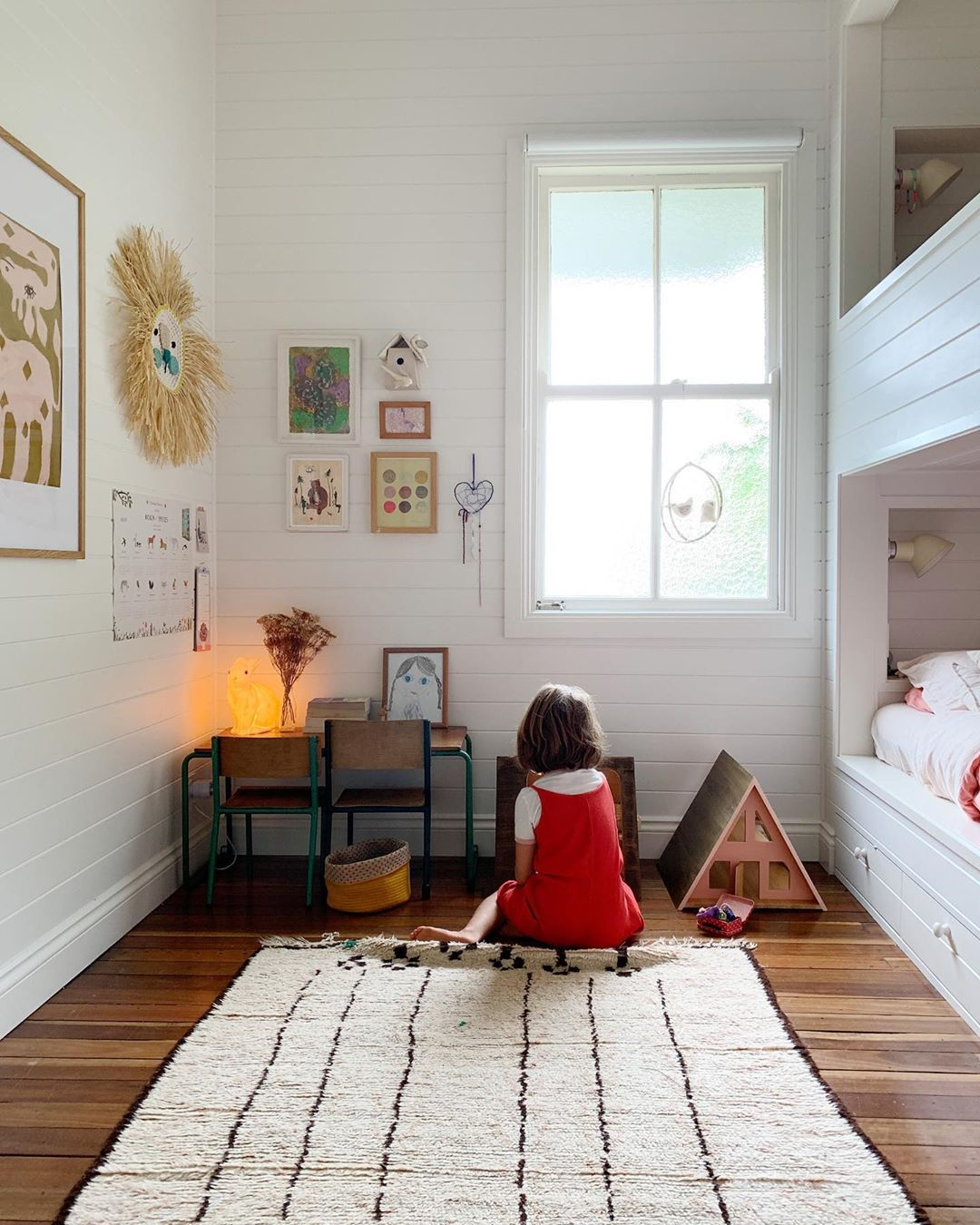 Children S Bedroom With Simple Design And Layout And Art On The Walls Room Kid Room Decor Home