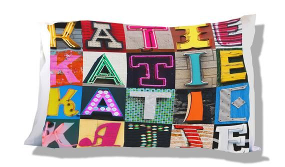 Personalized Pillow Case featuring KATIE in sign letters; Custom pillowcases; Teen bedroom decor; Co