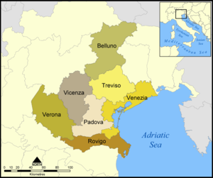 Provinces Of The Veneto Region Belluno Padua Rovigo Treviso