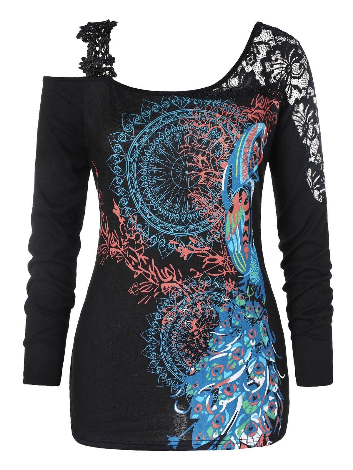 afd43a93068 Plus Size Ethnic Print Open Shoulder T-shirt