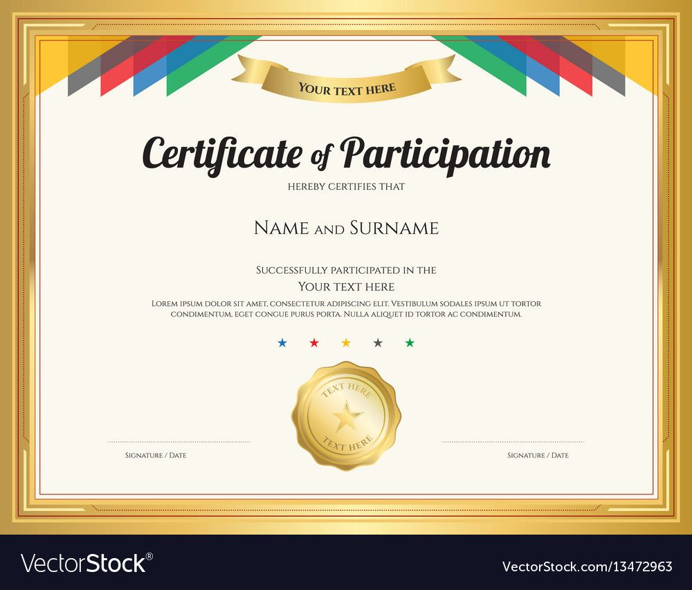 Certificate Of Participation Template With Gold For Templates Fo Certificate Of Participation Template Certificate Templates Certificate Of Completion Template