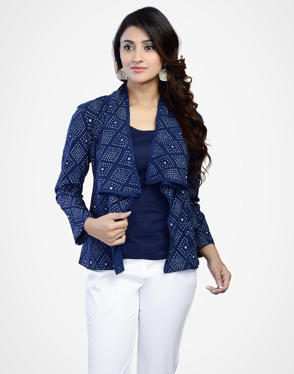Cotton Printed Overlap Collar Jacket