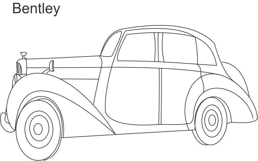bentley car coloring printable page for kids