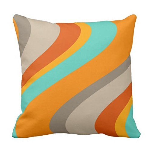 Funky Waves Retro Pillow Orange And Teal Decorative Pillow Cover Stunning Funky Decorative Pillows