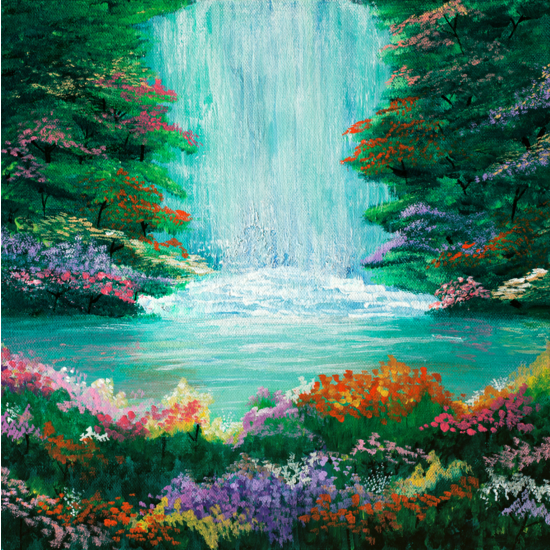 The Waterfall Acrylic Painting From Parimastudio Hunters Alley Waterfall Paintings Landscape Paintings Canvas Painting