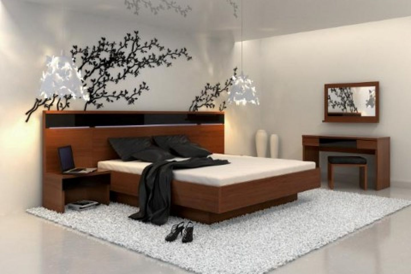 Japanese Inspired Bedroom Designs Collection Enthralling White