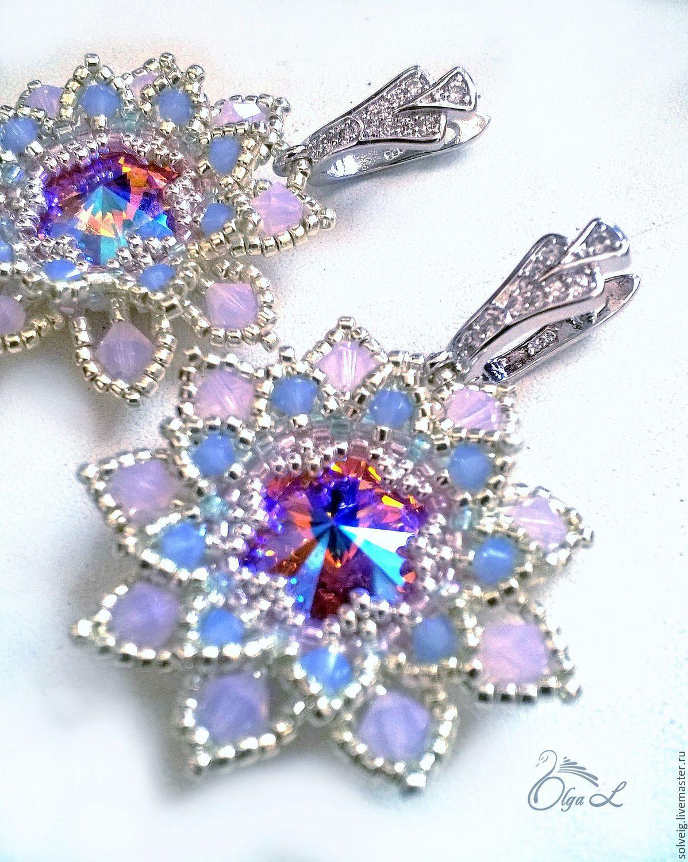 Купить Серьги «Чарующий лотос» - комбинированный, розовый, голубой, лотос, серьги, серьги ручной работы