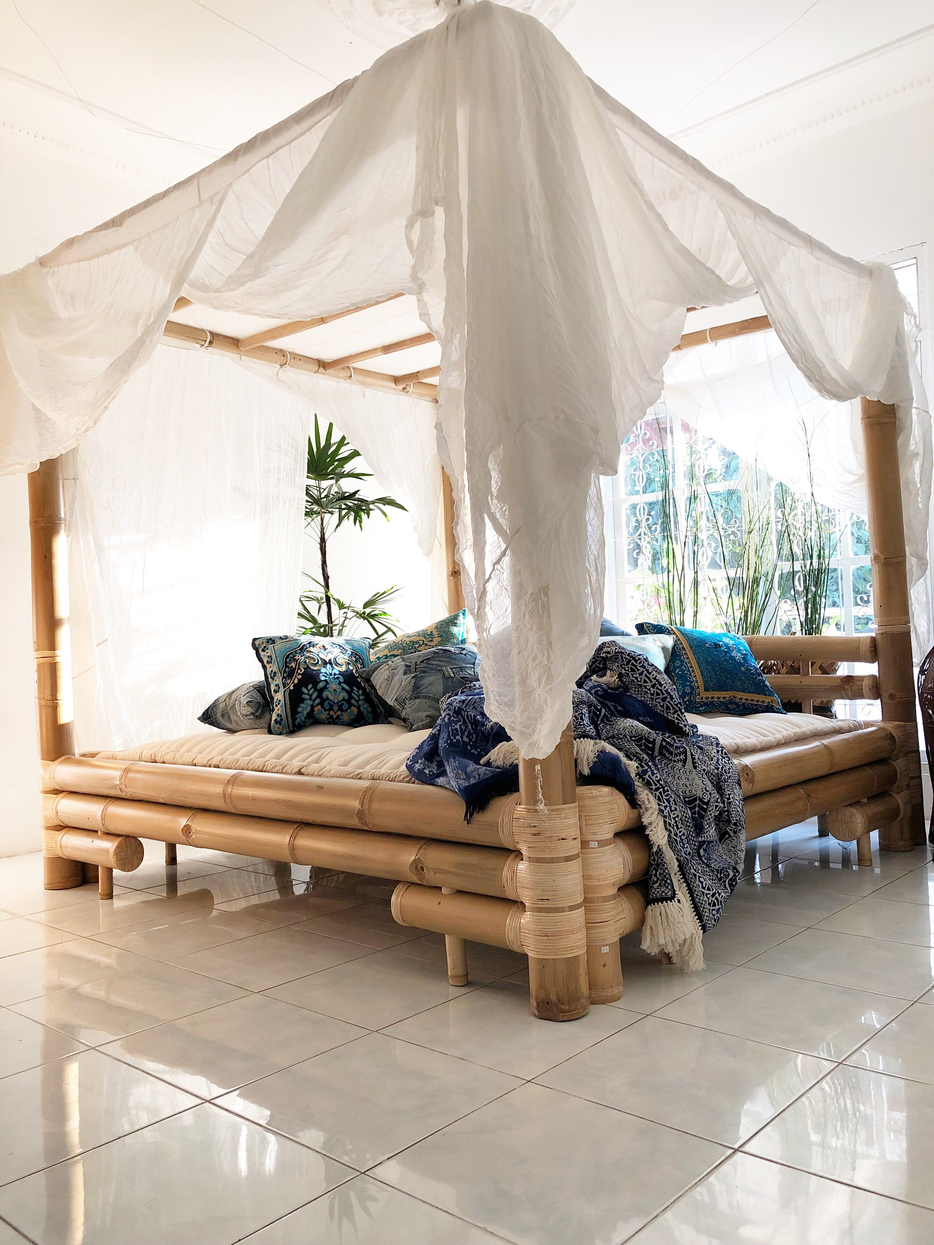King Size Bamboo Canopy Bed Bamboo Canopybed Rattan Wicker