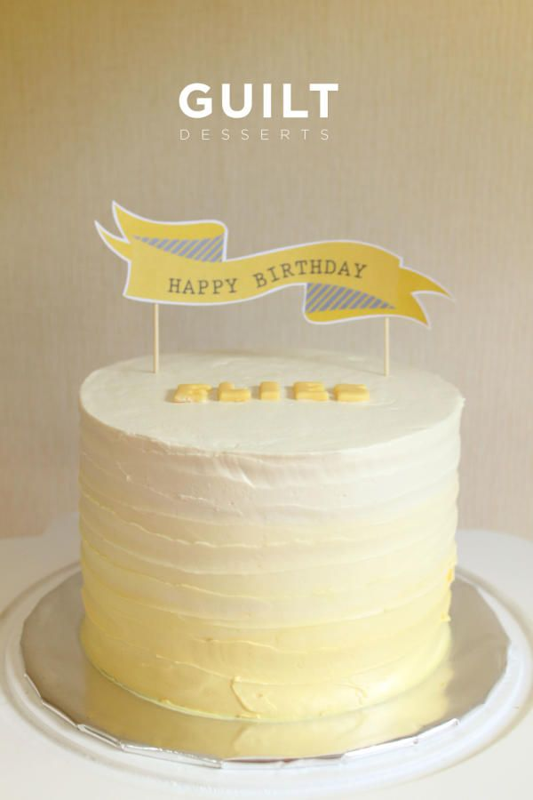 Sweet Pale Yellow Ombre Cake With Images Yellow Birthday Cakes