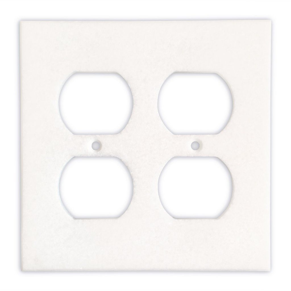 Thassos White Marble Double Duplex Switch Wall Plate