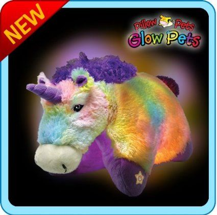 Amazon Com Pillow Pets Glow Pets Unicorn 16 Toys Games