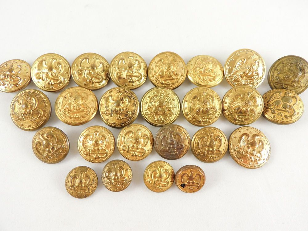 25 VINTAGE MILITARY GOLD BUTTON LOT-EAGLE 13 STARS NAVY