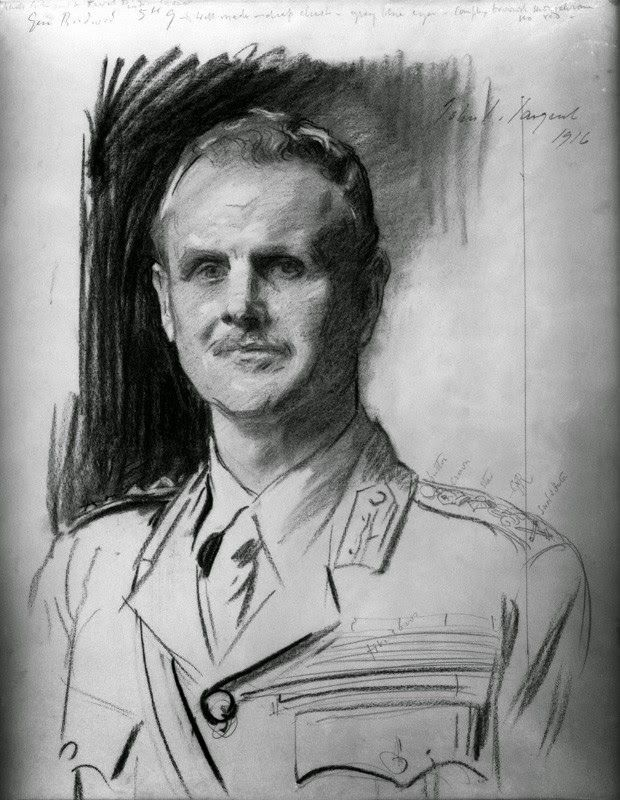 "General Sir William Birdwood, by John Singer Sargent. --- March 1916 ""A few days later our brigade received word to move on to France. Needless to say all was excitement. General Birdwood addressed us, he said out brigade was the first to enter France and he hoped we would at all times uphold our reputation. Our brigade than entrained for Cairo, from there we continued our journey to Alexandria where our boat was waiting to take us on the France. """
