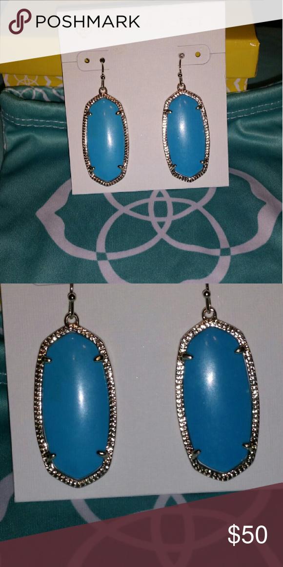 Elle gold earrings in turquoise VERY VERY LIGHT GOLD METAL ALMOST SILVER Kendra Scott Jewelry Earrings