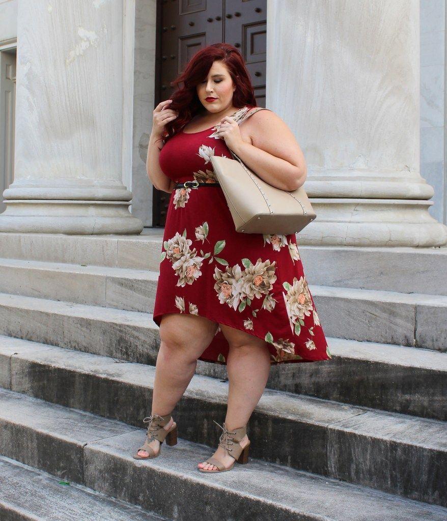 7709578691ba This Plus Size Floral High-Low Tank Dress from Curvy Sense is the perfect  fit and lovely for a summer look