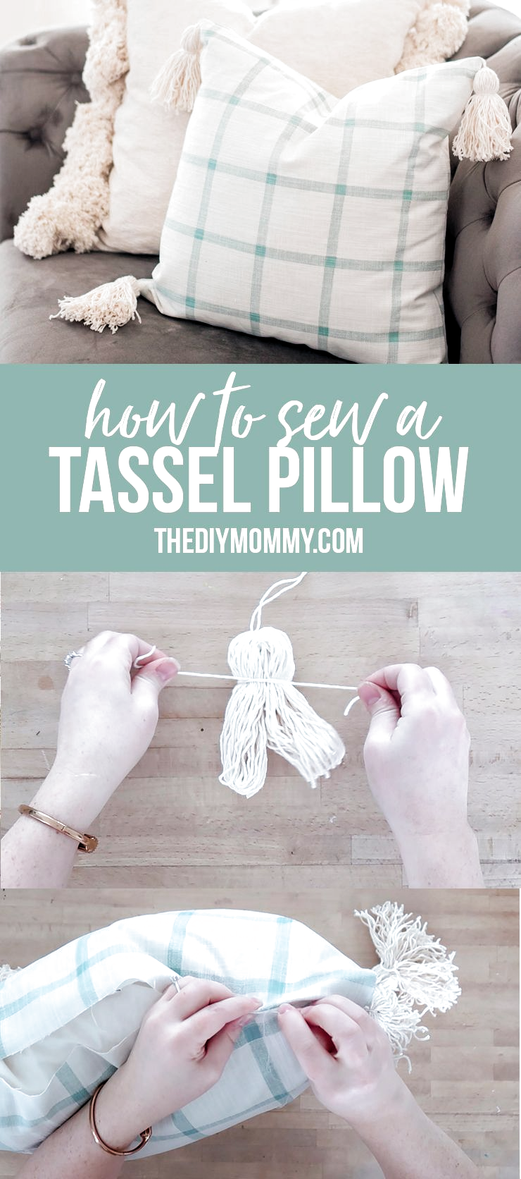 Easy DIY! Learn how to sew a beautiful tassel pillow cover with a step-by-step video tutorial. | thediymommy.com #DIYdecor