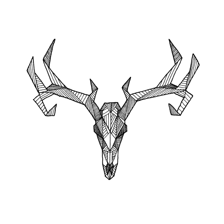 Il Fullxfull 374331501 8y0a Jpg 1500 1500 Geometric Deer Deer Skull Drawing Skull Drawing