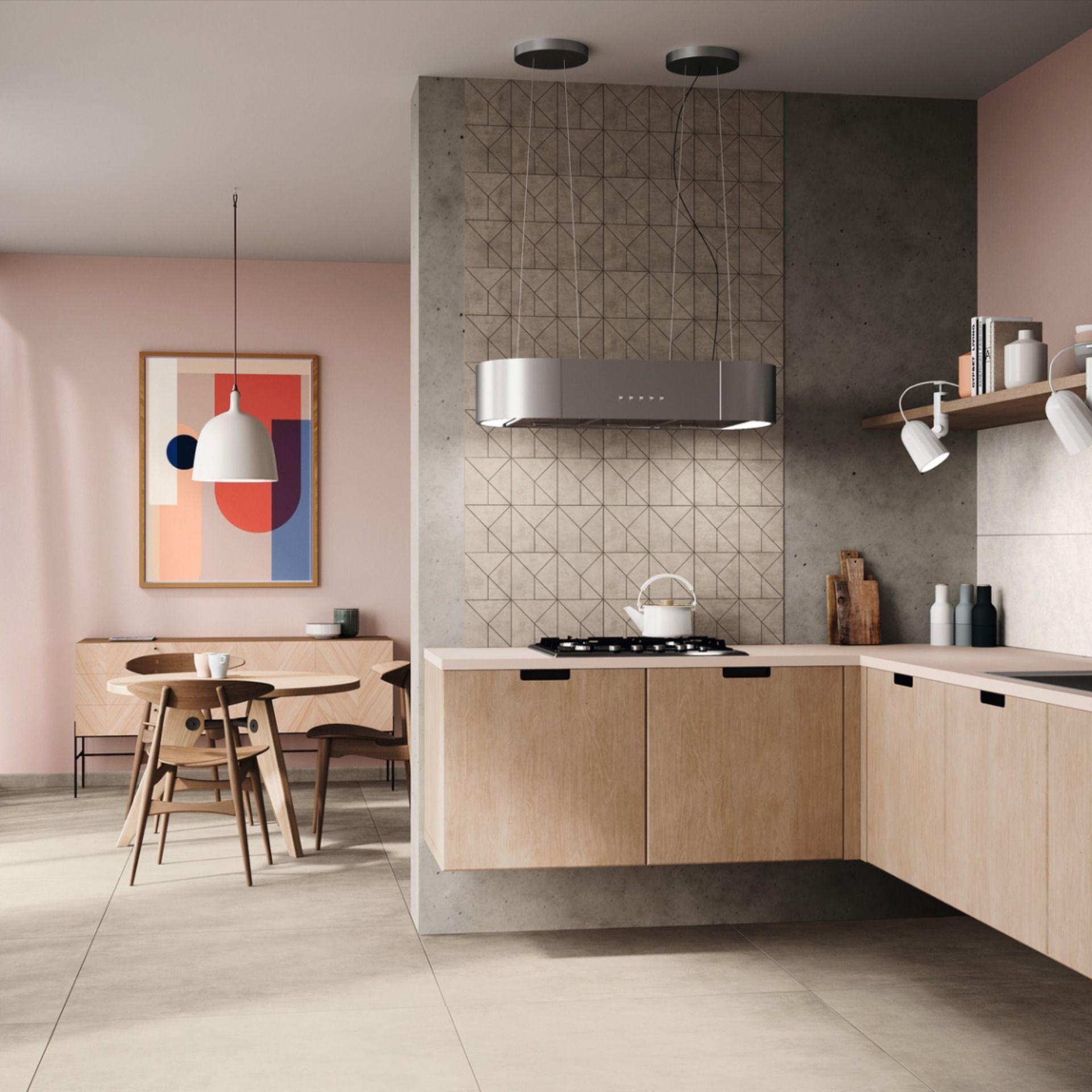 Topmoderne Kuche In Zarten Farben Mit Fliesen In Musteroptik Moderne Kuche Kuchenfliese Haus Deko