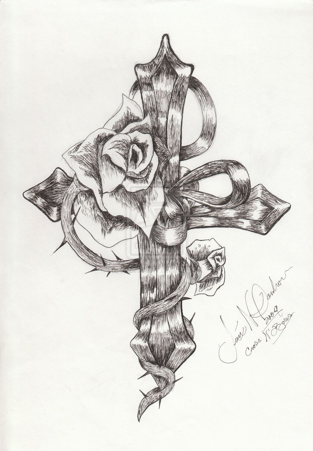 ladies cross tattoo designs  Crosseswithrosesandwings  pita